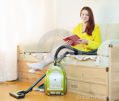 Woman rests from household chores