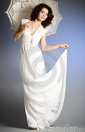 Woman in retro bridal dress