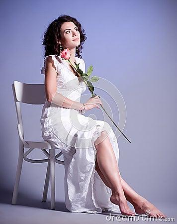 Woman in retro bridal dress