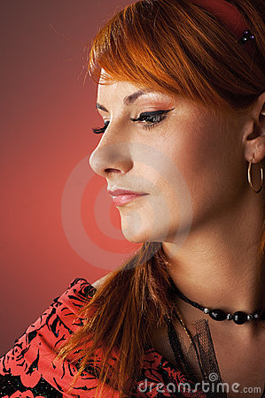 Woman retro close-up portrait