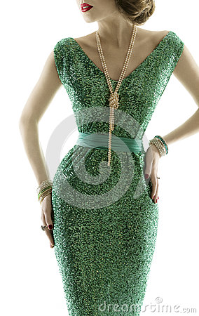 Free Woman Retro Fashion Dress, Sparkle Sequin Gown, Elegant Clothing Stock Images - 41562574