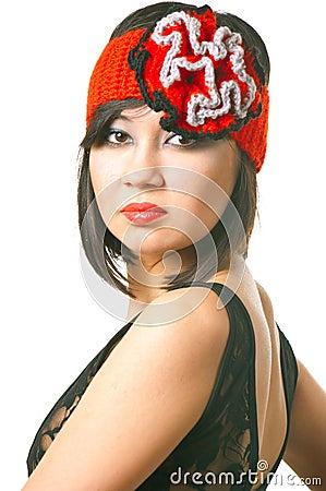 Woman in the retro hat