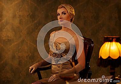 Woman in retro interior