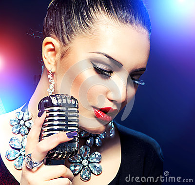 Woman with Retro Microphone