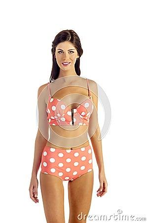 Woman in Retro Modern Bikini