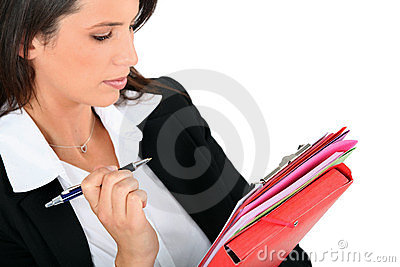 Woman reviewing notes