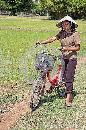 Woman on the rice field