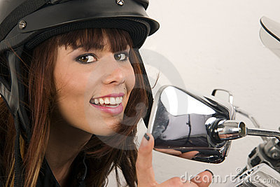 Woman Adjusts Mirror Motorcycle Smile Chrome