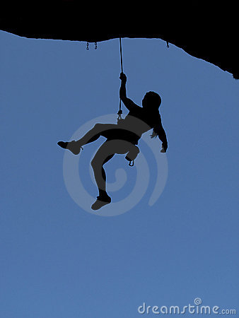 Woman rock climber silhouette