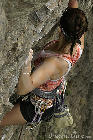 Free Woman Rock Climbing Royalty Free Stock Photo - 16508095