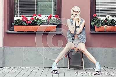 Woman roller skater