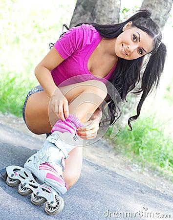 Woman on roller skates