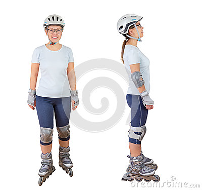 Woman roller skating Stock Photo