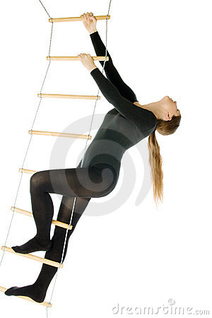 Woman on a rope ladder