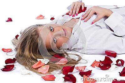 Woman with rose-petal