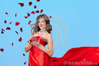 Woman with rose petals
