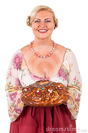 Woman with a round loaf