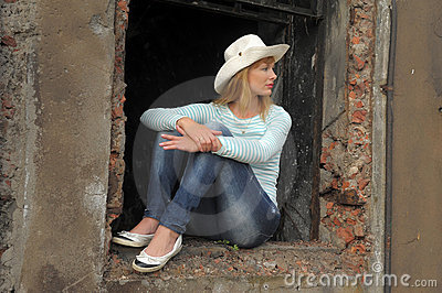 Woman  on the ruins