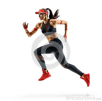 Free Woman Runner In Silhouette On White Background. Royalty Free Stock Photo - 109076545