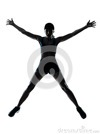 Woman runner jogger jumping happy