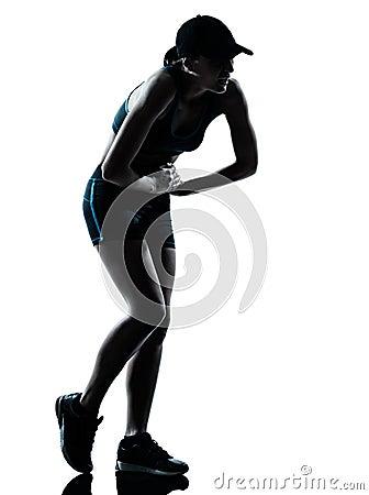 Woman runner jogger tired breathless