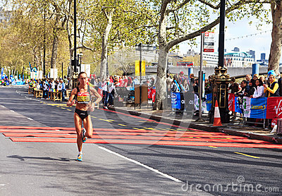 Woman runner at London Marathon 2012 Editorial Image