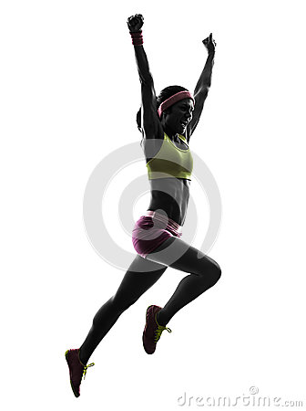 Free Woman Runner Running Jumping Shouting Silhouette Stock Photo - 32440870