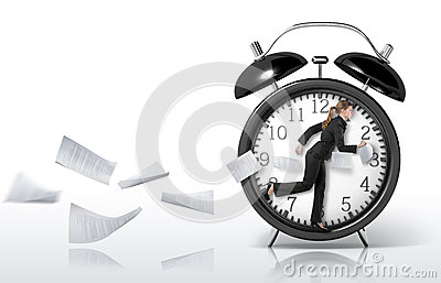 Woman running in a giant clock