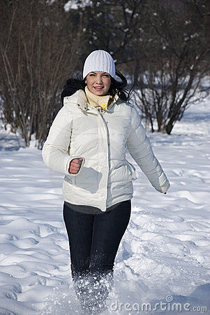 Free Woman Running In Winter Stock Photos - 12771553
