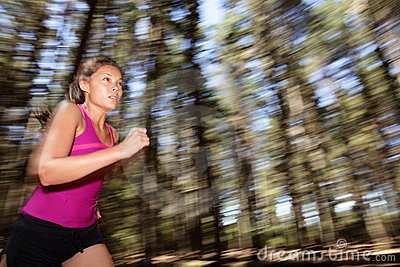 Woman running at speed