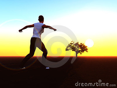 Woman running towards sunrise