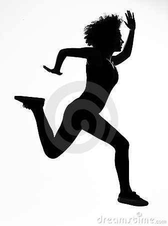Woman runnner running in silhouette