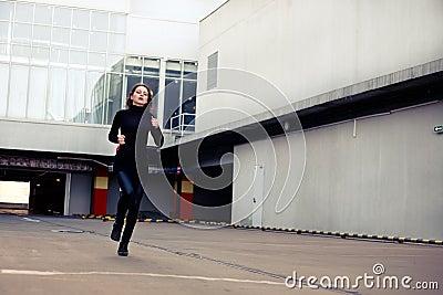 Woman runs away