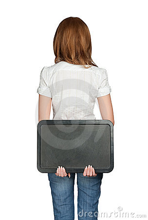 Woman s back holding black board