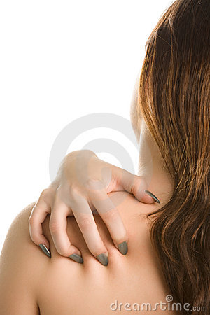 Woman s back and sharp nails