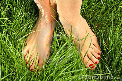 Woman s bare feet