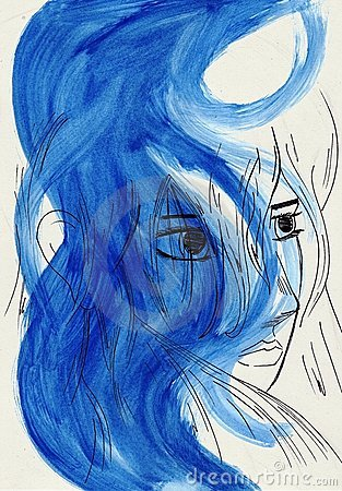 artistic portriat of woman in blue tones