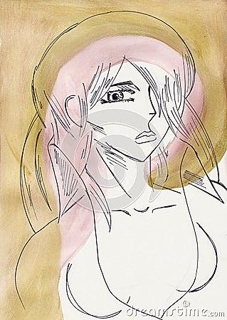 Colorful artistic portrait of woman