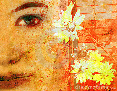 Woman s face on grunge
