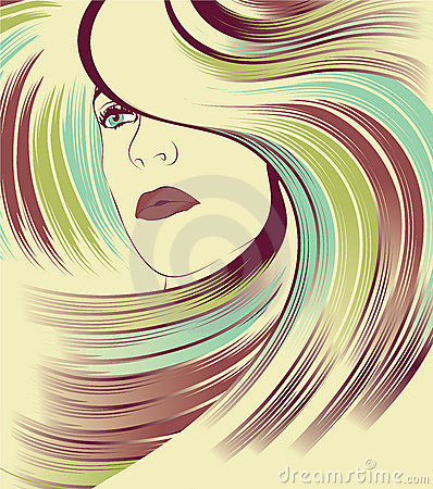 Woman s face with long colorful hair