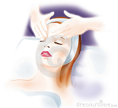 Woman's face massage - skin care Cartoon Illustration