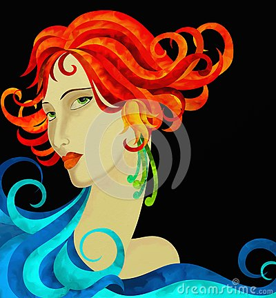Woman s face with red hair
