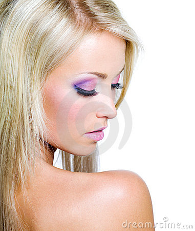 Woman s face with saturated make-up