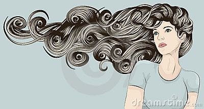 Woman s face with very long detailed hair