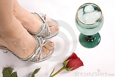 Woman s feet and glass top view