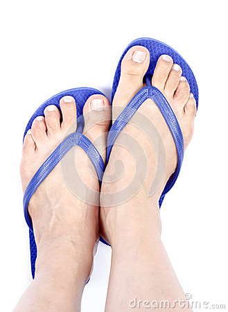 Woman s Feet Wearing Blue Flop Flops