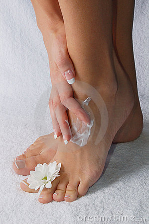 Woman s foot with flower