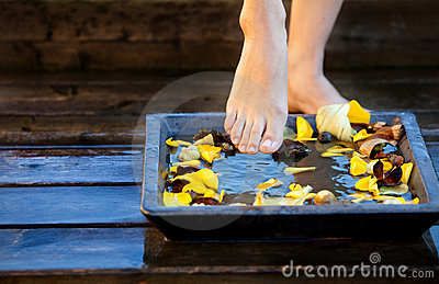 Woman s foot into water
