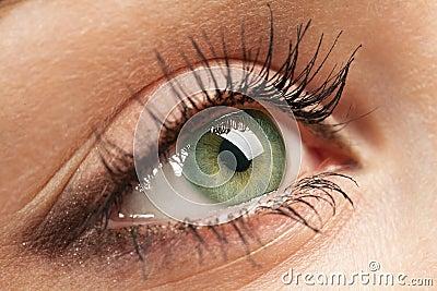 Woman`s green eye
