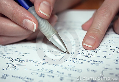 Woman s hand calculating